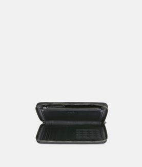 KARL LAGERFELD K/METAL SIGNATURE ZIP WALLET