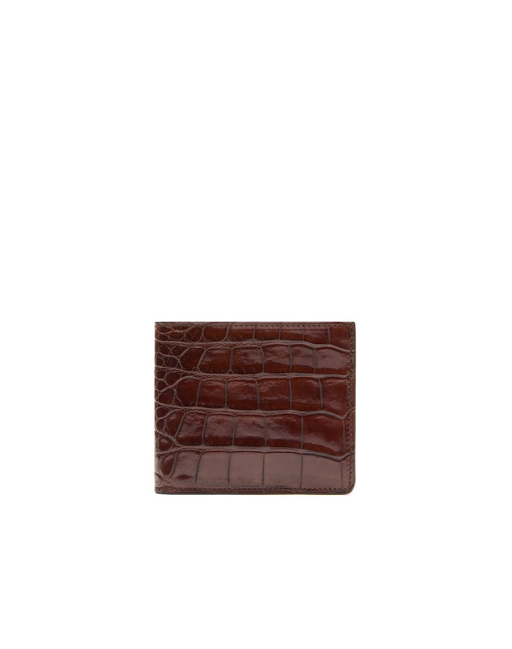 BRIONI Cognac Alligator Slim Wallet Leather Goods Man f