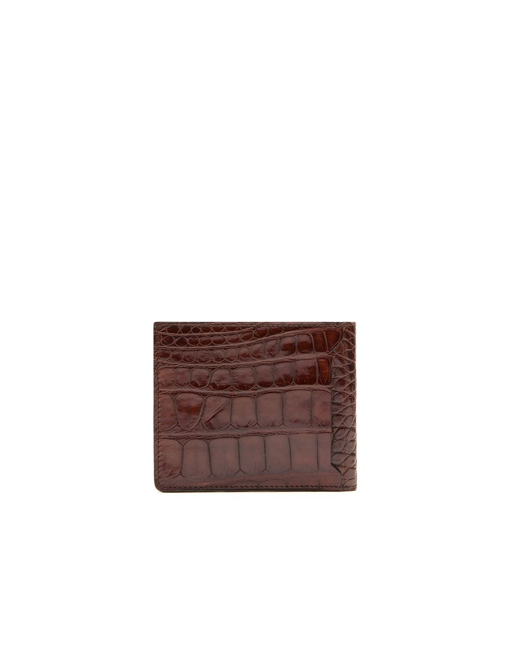 BRIONI Cognac Alligator Slim Wallet Leather Goods Man r