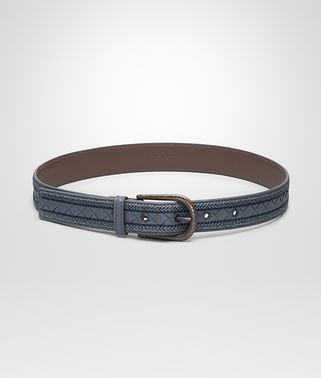 BELT IN KRIM NEW INTRECCIATO NAPPA LEATHER , EMBROIDERY DETAILS