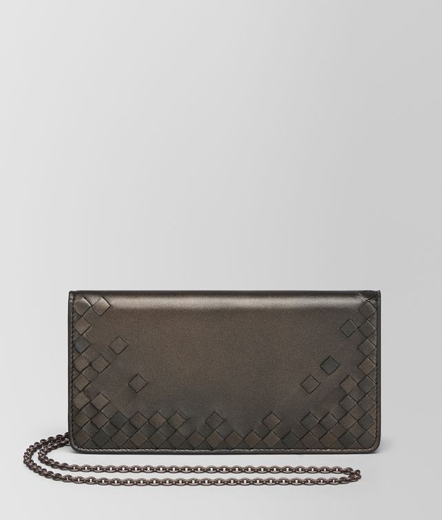 BOTTEGA VENETA DARK BRONZE NAPPA CONTINENTAL WALLET CHAIN WALLET Woman fp