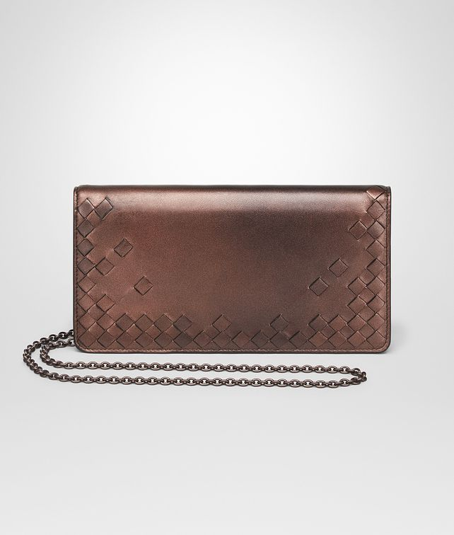 BOTTEGA VENETA DARK COPPER NAPPA CONTINENTAL WALLET CHAIN WALLET Woman fp