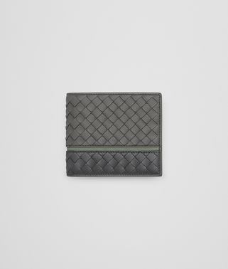 BI-FOLD WALLET IN LIGHT GREY ARDOISE ARTICHOKE INTRECCIATO NAPPA LEATHER