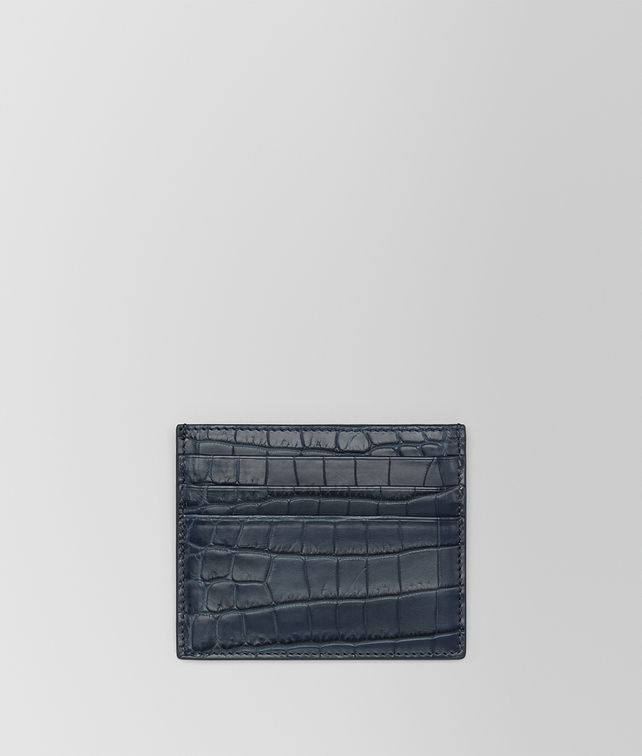 BOTTEGA VENETA DENIM CROCODILE CARD CASE Card Case or Coin Purse E fp