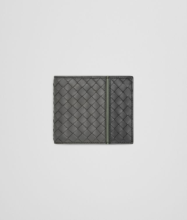 BOTTEGA VENETA BI-FOLD WALLET WITH COIN PURSE IN NEW LIGHT GREY ARDOISE ARTICHOKE INTRECCIATO NAPPA Bi-fold Wallet Man fp