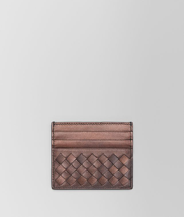 BOTTEGA VENETA DARK COPPER INTRECCIATO NAPPA CARD CASE Mini Wallet or Coin Purse E fp