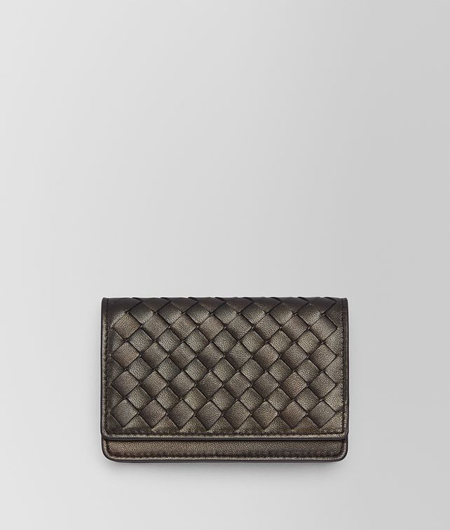 BOTTEGA VENETA DARK BRONZE INTRECCIATO NAPPA CARD CASE Mini Wallet or Coin Purse E fp