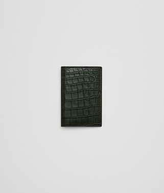 DARK MOSS CROCODILE CARD CASE