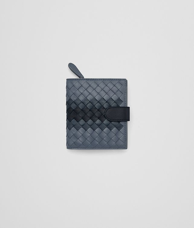 BOTTEGA VENETA MINI WALLET IN KRIM DENIM TOURMALINE INTRECCIATO NAPPA CLUB Mini Wallet Woman fp