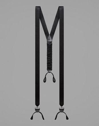 Black Silk Tuxedo Suspenders