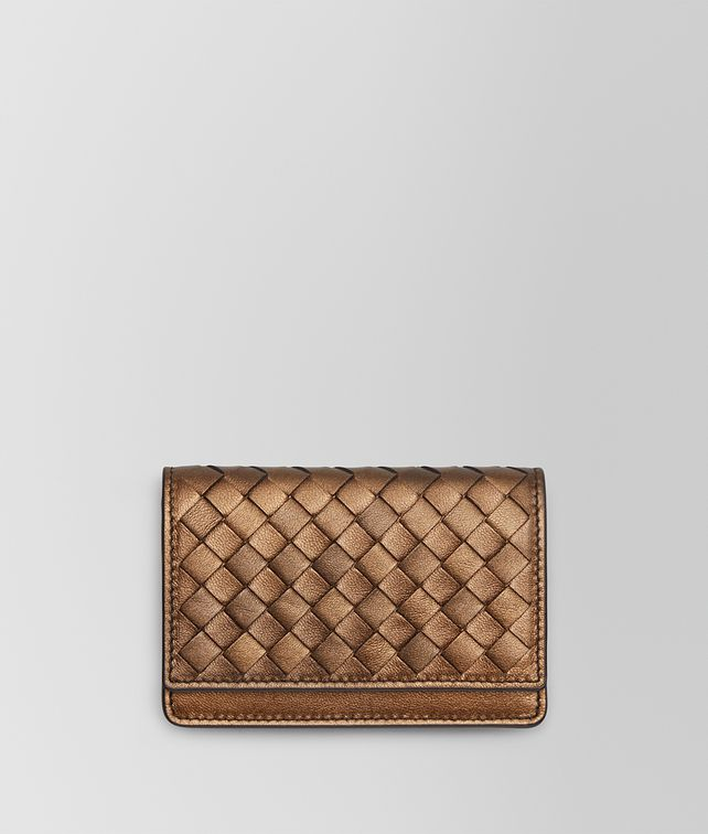 BOTTEGA VENETA ORO SCURO INTRECCIATO NAPPA CARD CASE Mini Wallet E fp