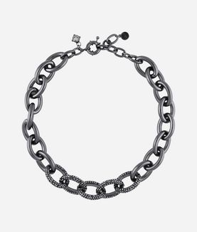 KARL LAGERFELD GUNMETAL LINK NECKLACE