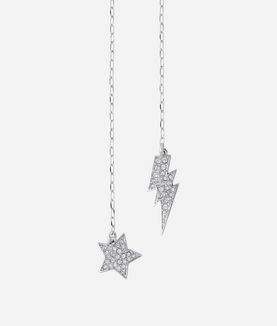 KARL LAGERFELD SILVER HANGING STAR AND LIGHTNING