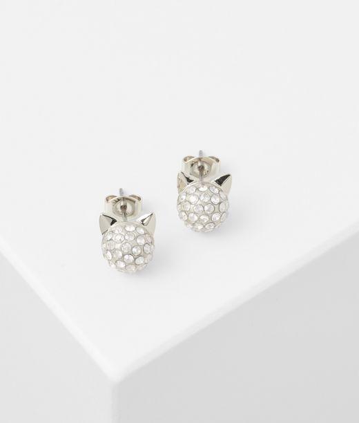 KARL LAGERFELD Silver Choupette Stud Earrings 12_f