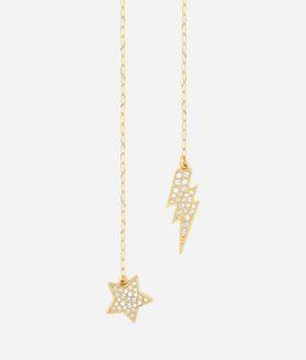 KARL LAGERFELD GOLD HANGING STAR AND LIGHTNING