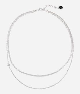 KARL LAGERFELD SILVER LAYERED CHAIN NECKLACE