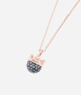 KARL LAGERFELD ROSE GOLD CHOUPETTE PENDANT NECKLACE