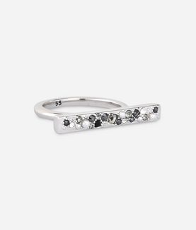 KARL LAGERFELD SCATTERED CRYSTAL BAR RING