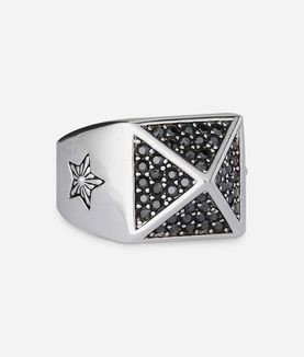 KARL LAGERFELD PAVE PYRAMID RING