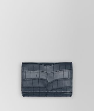 DENIM CROCODILE CARD CASE