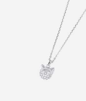 KARL LAGERFELD SILVER CHOUPETTE PENDANT NECKLACE