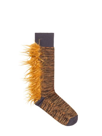 Marni Cotton and nylon sock orange Woman