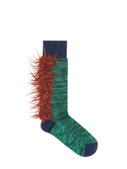 Marni Cotton sock mouliné green Woman