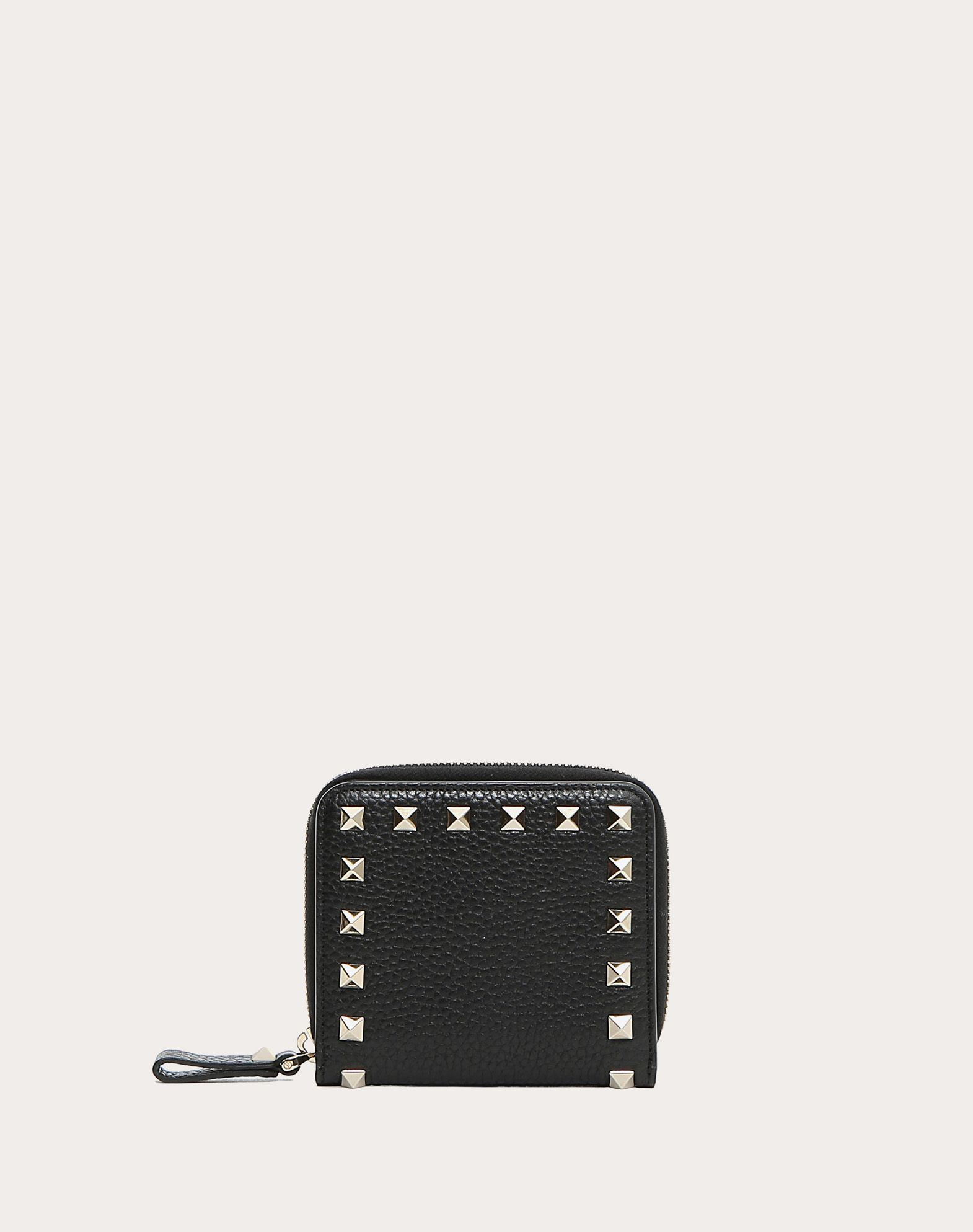 VALENTINO Textured leather Studs Zip External pocket Internal card slots  46535933ew