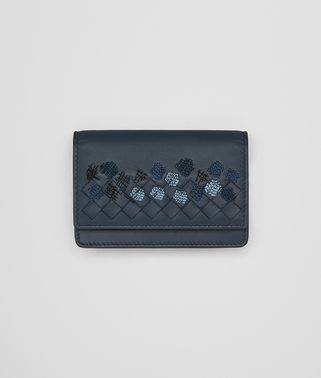 DENIM EMBROIDERED NAPPA CARD CASE