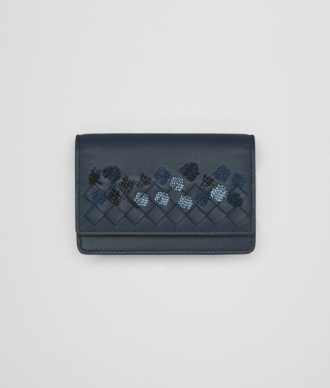 BOTTEGA VENETA DENIM EMBROIDERED NAPPA CARD CASE Card Case or Coin Purse E fp