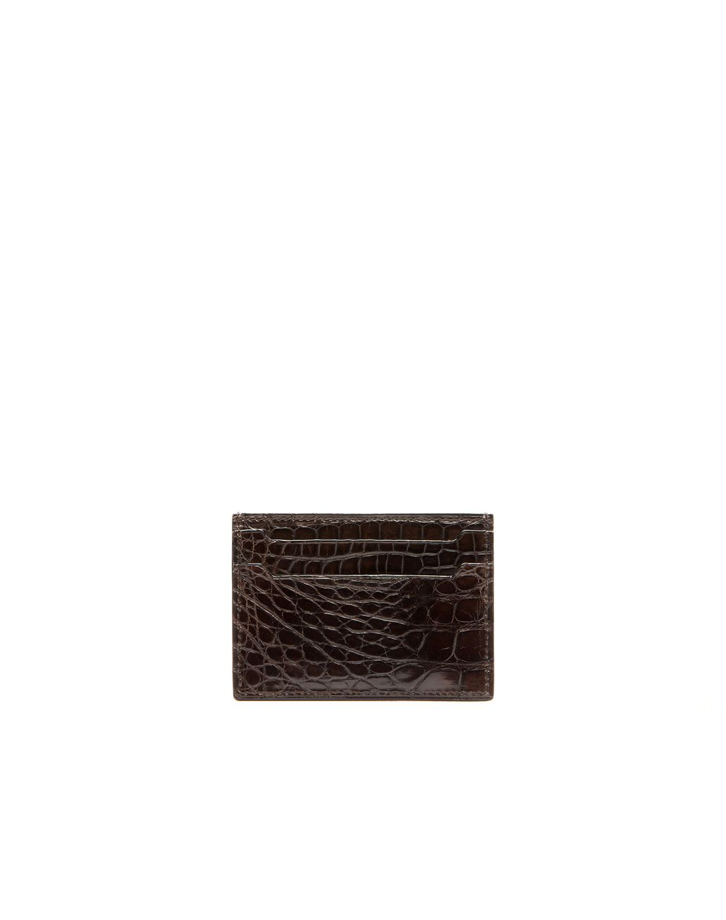 BRIONI Mahogany Alligator Credit Card Holder   Leather Goods U f