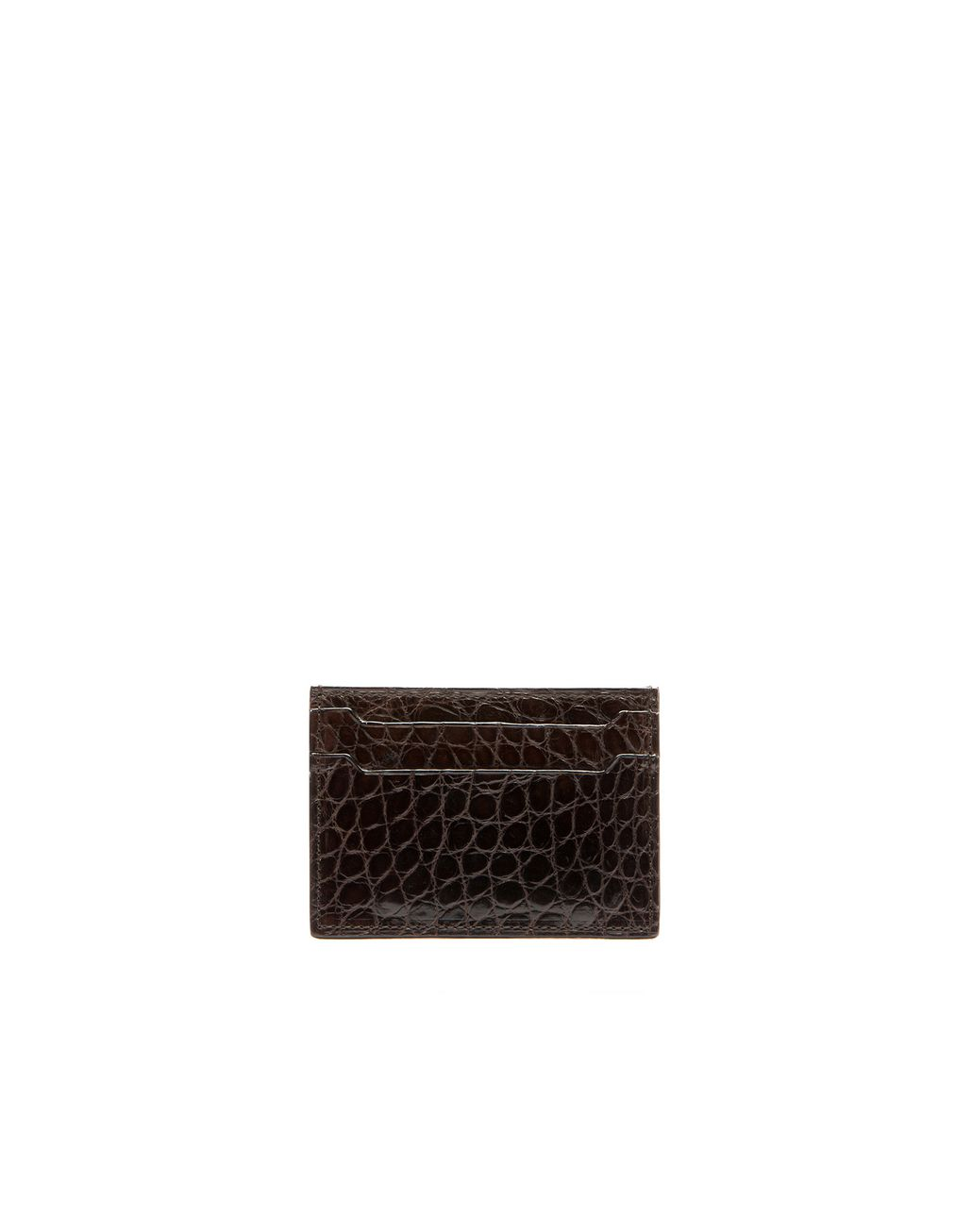 BRIONI Mahogany Alligator Credit Card Holder   Leather Goods Man r