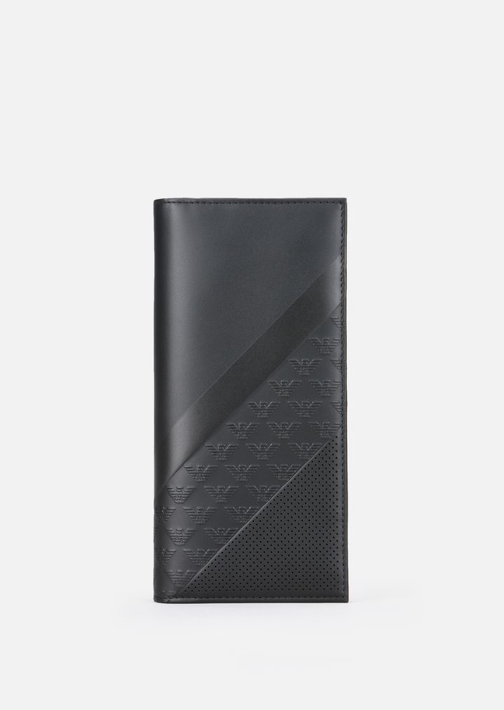 71eb8b767a LEATHER VERTICAL WALLET WITH ALL-OVER LOGO PATTERN | Man | Emporio ...