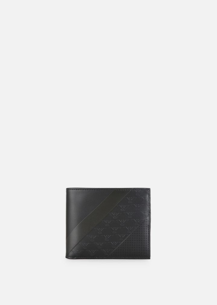 d7a4f001a6 LEATHER BIFOLD WALLET WITH ALL-OVER LOGO PATTERN | Man | Emporio Armani