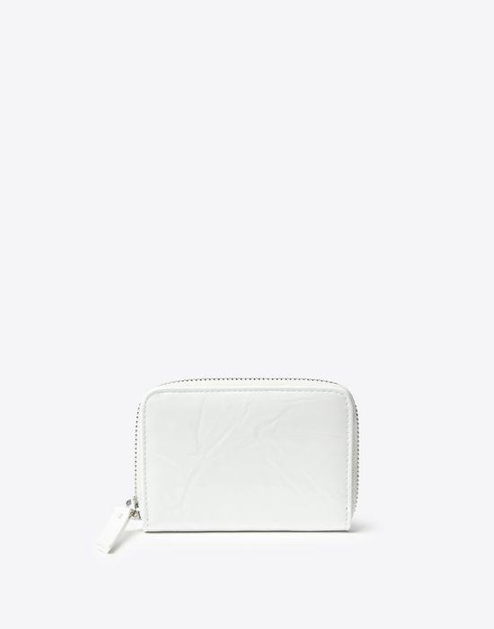 MAISON MARGIELA Kleine Brieftasche, Lackleder mit Knittereffekt Portemonnaie Damen f