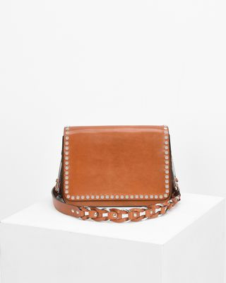 CALIBAR leather and chain crossbody bag