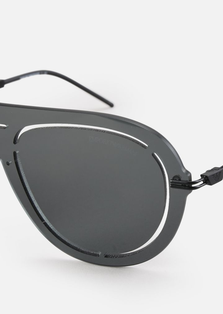 EMPORIO ARMANI Laser-cut shield sunglasses Sunglasses Man e