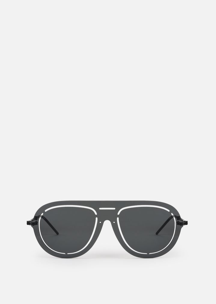 EMPORIO ARMANI Laser-cut shield sunglasses Sunglasses Man r