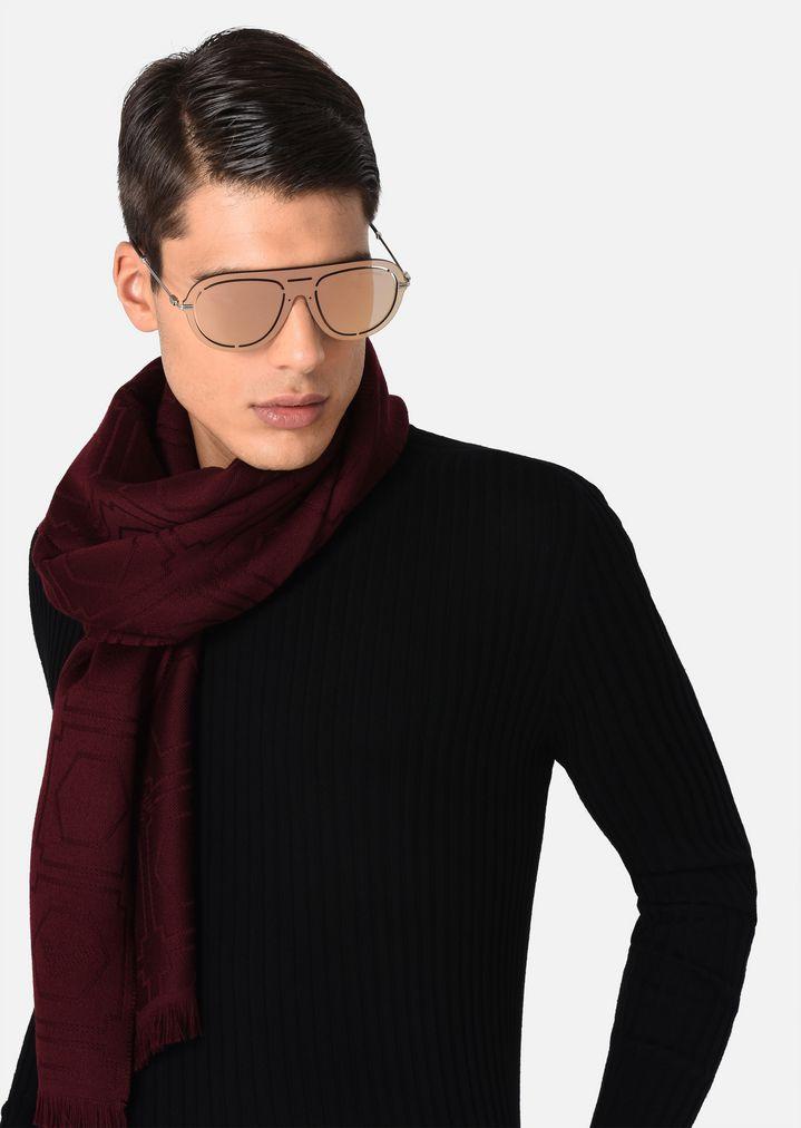 EMPORIO ARMANI Laser-cut shield sunglasses Sunglasses Man a