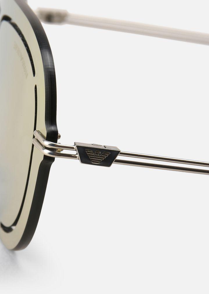 EMPORIO ARMANI Laser-cut shield sunglasses Sunglasses Man d