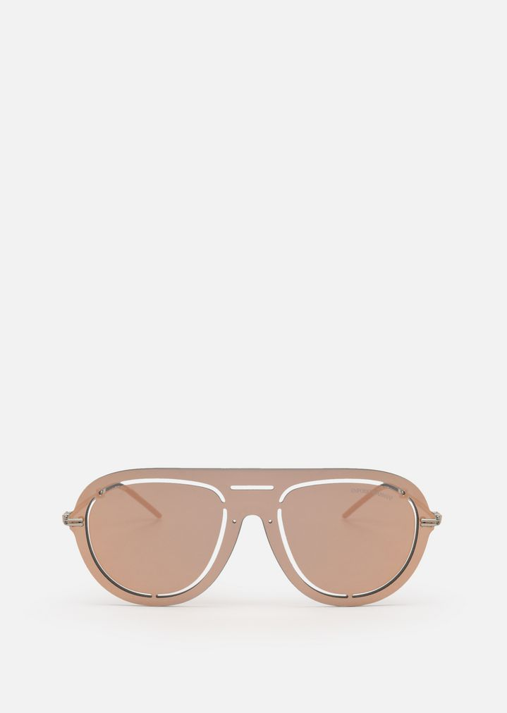 EMPORIO ARMANI Laser-cut shield sunglasses Sunglasses Man r
