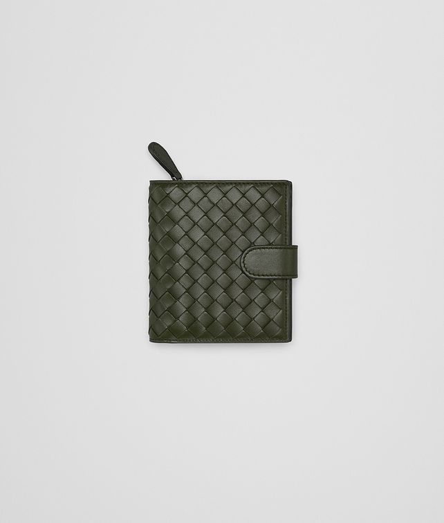 BOTTEGA VENETA MOSS INTRECCIATO NAPPA LEATHER MINI WALLET Mini Wallet or Coin Purse Woman fp