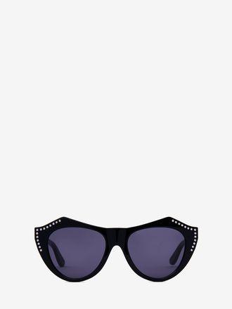 Facettierte Sonnenbrille in Cateye-Form