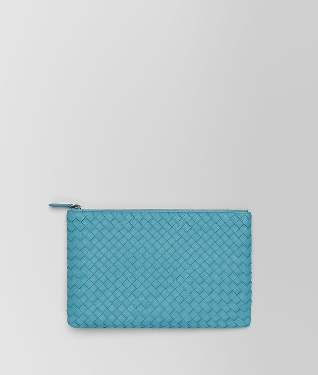 BOTTEGA VENETA AQUA INTRECCIATO NAPPA MEDIUM POUCH Other Accessories E fp
