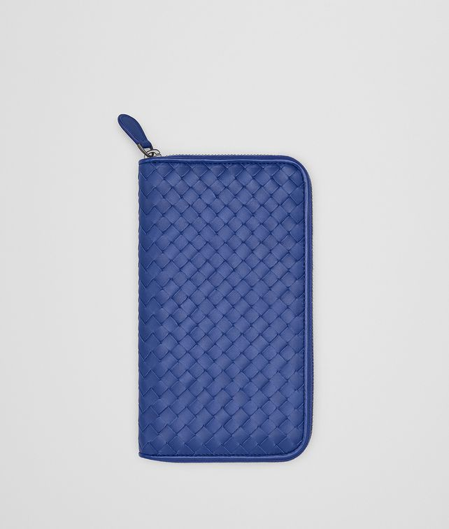 BOTTEGA VENETA COBALT BLUE INTRECCIATO ZIP-AROUND WALLET Zip Around Wallet [*** pickupInStoreShippingNotGuaranteed_info ***] fp