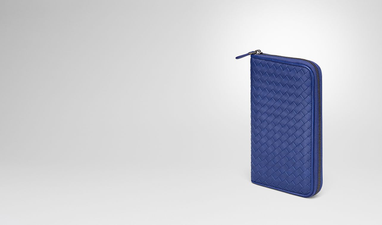 cobalt blue intrecciato zip-around wallet landing