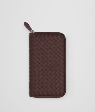DARK BAROLO INTRECCIATO NAPPA ZIP-AROUND WALLET