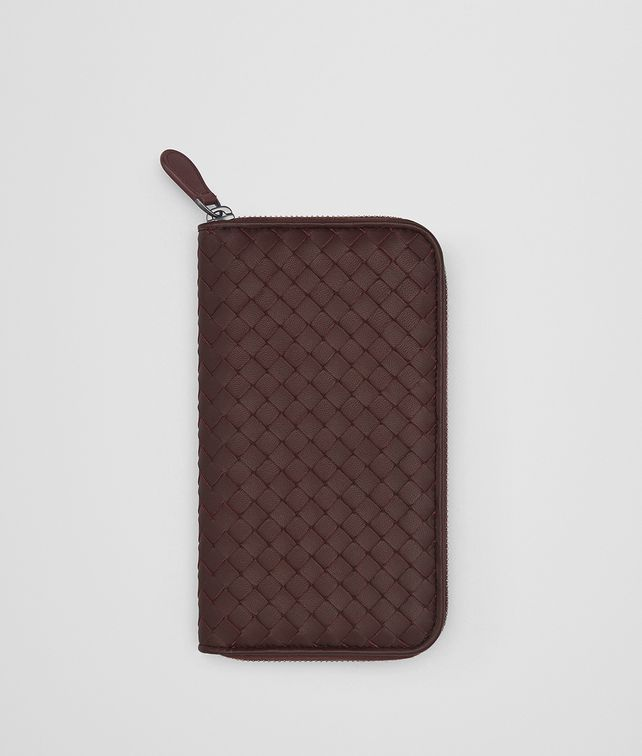 BOTTEGA VENETA DARK BAROLO INTRECCIATO NAPPA ZIP-AROUND WALLET Zip Around Wallet [*** pickupInStoreShipping_info ***] fp