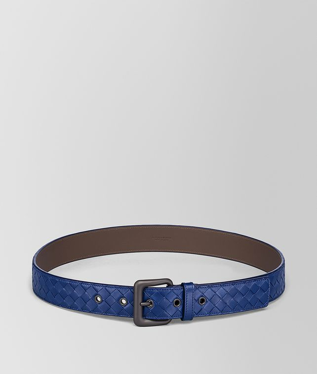 BOTTEGA VENETA COBALT BLUE INTRECCIATO BELT Belt [*** pickupInStoreShippingNotGuaranteed_info ***] fp