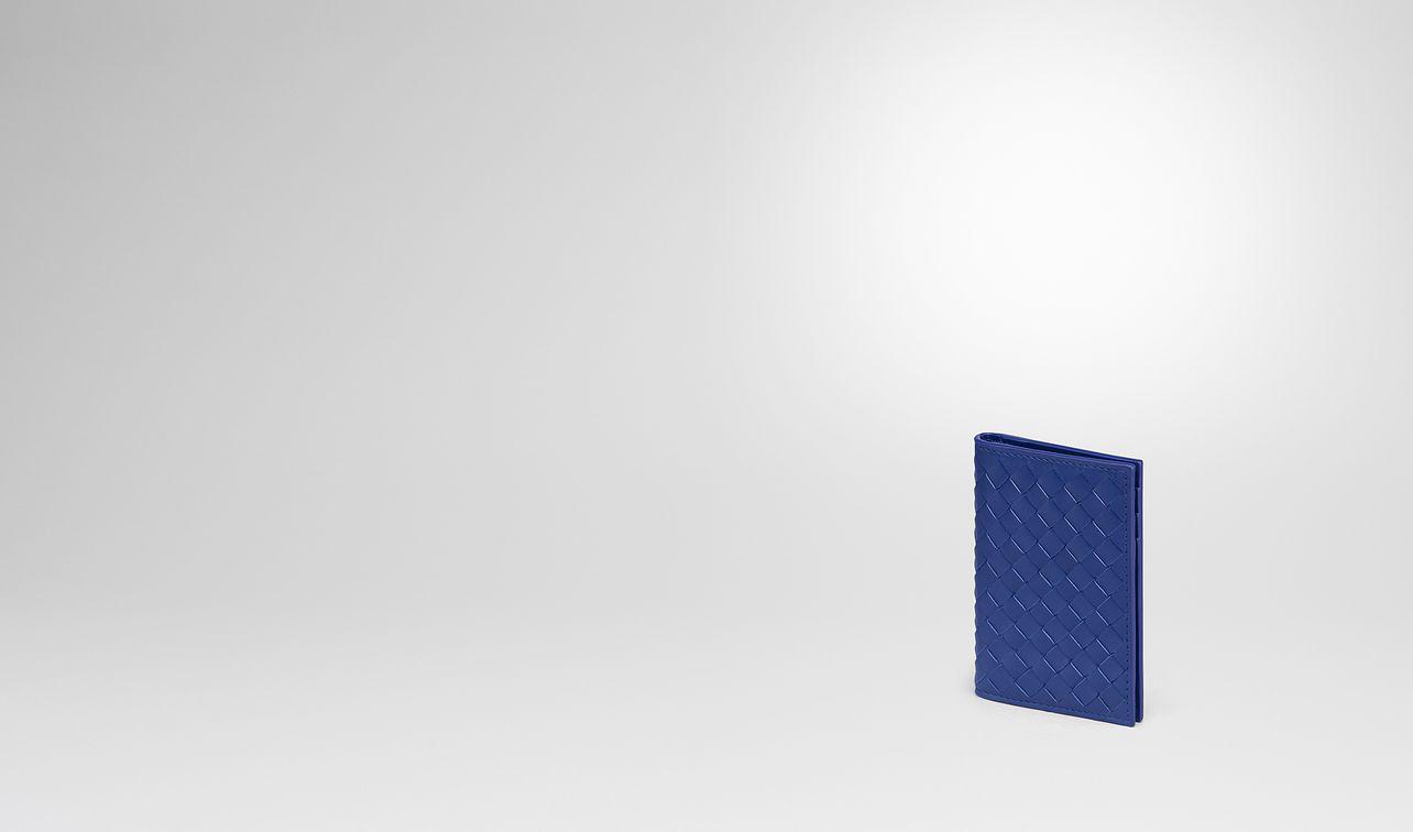 cobalt blue intrecciato card case landing